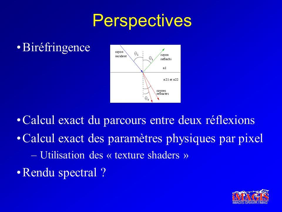 iMAGIS-GRAVIR / IMAG Perspectives Biréfringence Calcul exact du parcours entre deux réflexions Calcul exact des paramètres physiques par pixel –Utilisation des « texture shaders » Rendu spectral