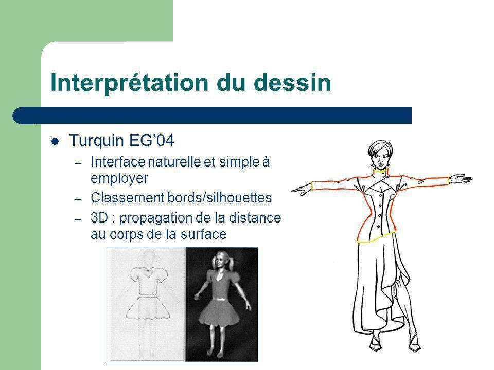 Interprétation du dessin Turquin EG04 – Interface naturelle et simple à employer – Classement bords/silhouettes – 3D : propagation de la distance au c