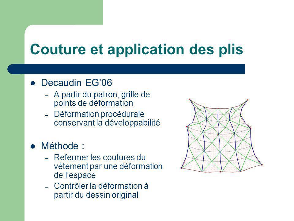 Couture et application des plis Decaudin EG06 – A partir du patron, grille de points de déformation – Déformation procédurale conservant la développab