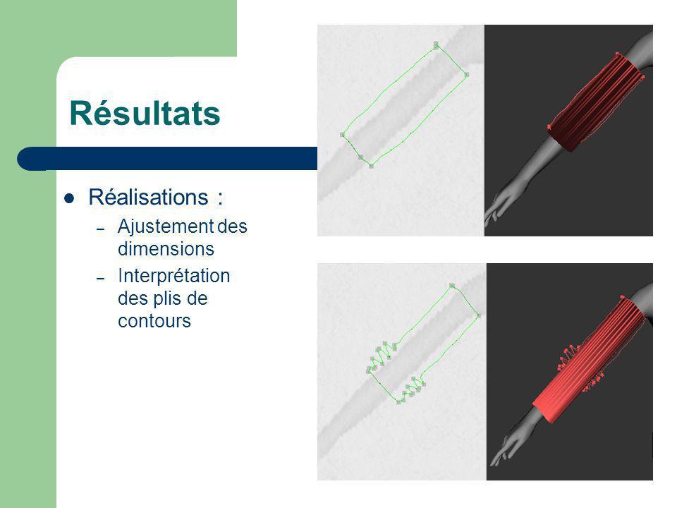 Résultats Réalisations : – Ajustement des dimensions – Interprétation des plis de contours
