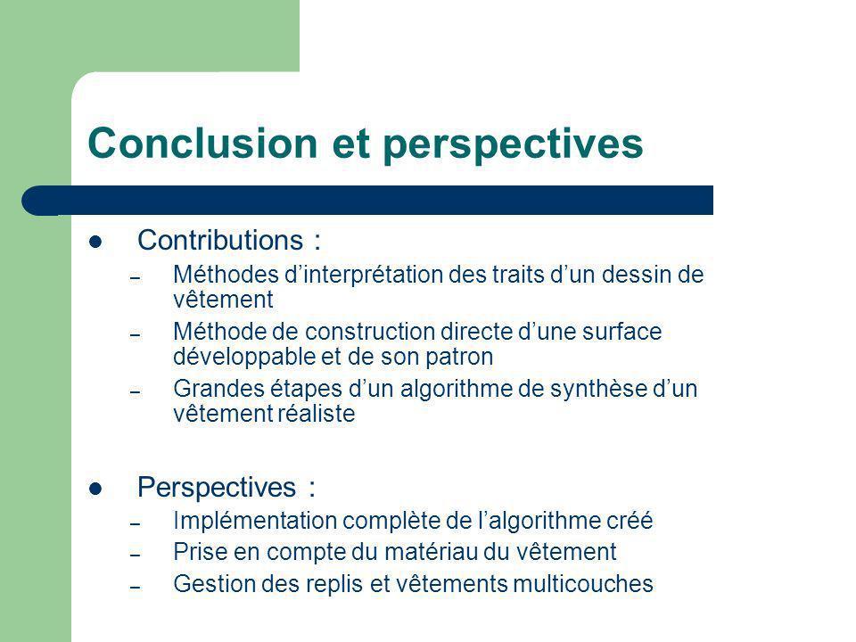 Conclusion et perspectives Contributions : – Méthodes dinterprétation des traits dun dessin de vêtement – Méthode de construction directe dune surface