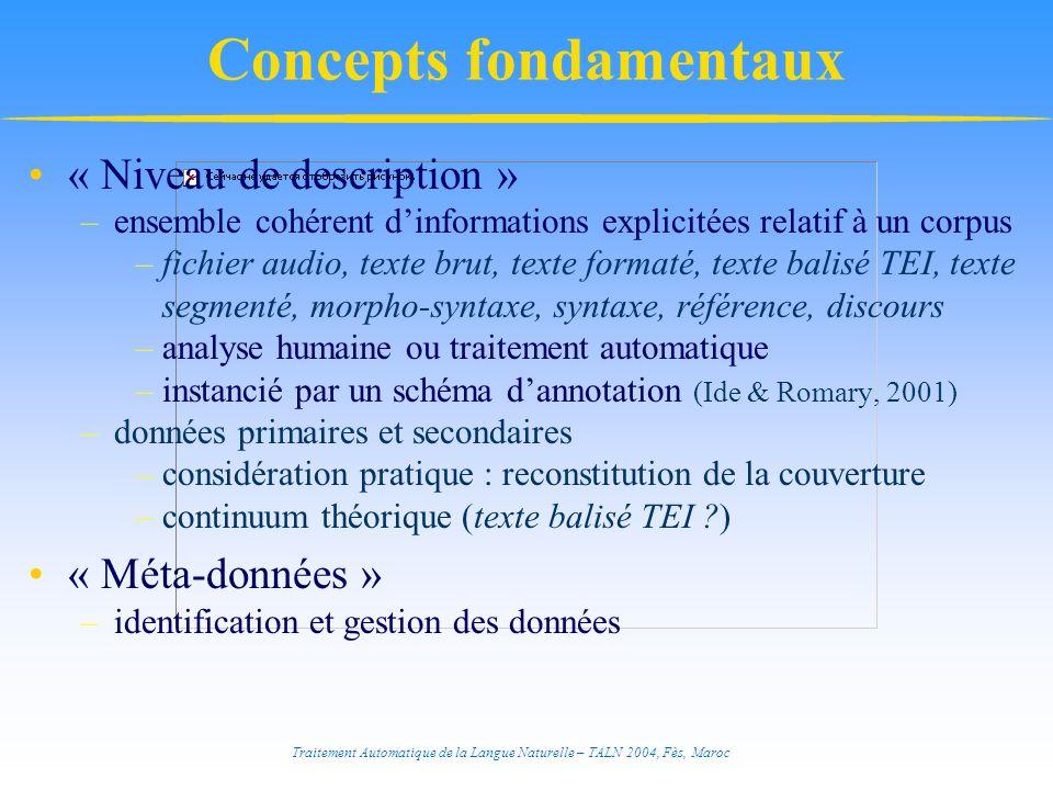 Traitement Automatique de la Langue Naturelle – TALN 2004, Fès, Maroc « Niveau de description » –ensemble cohérent dinformations explicitées relatif à