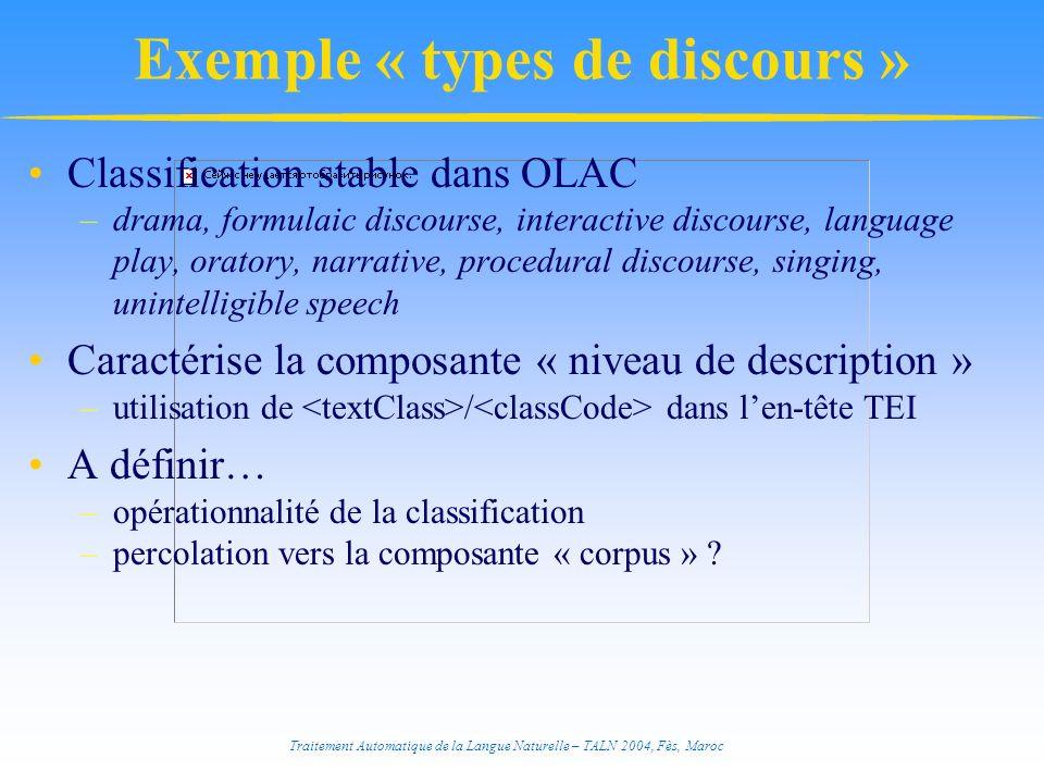 Traitement Automatique de la Langue Naturelle – TALN 2004, Fès, Maroc Exemple « types de discours » Classification stable dans OLAC –drama, formulaic