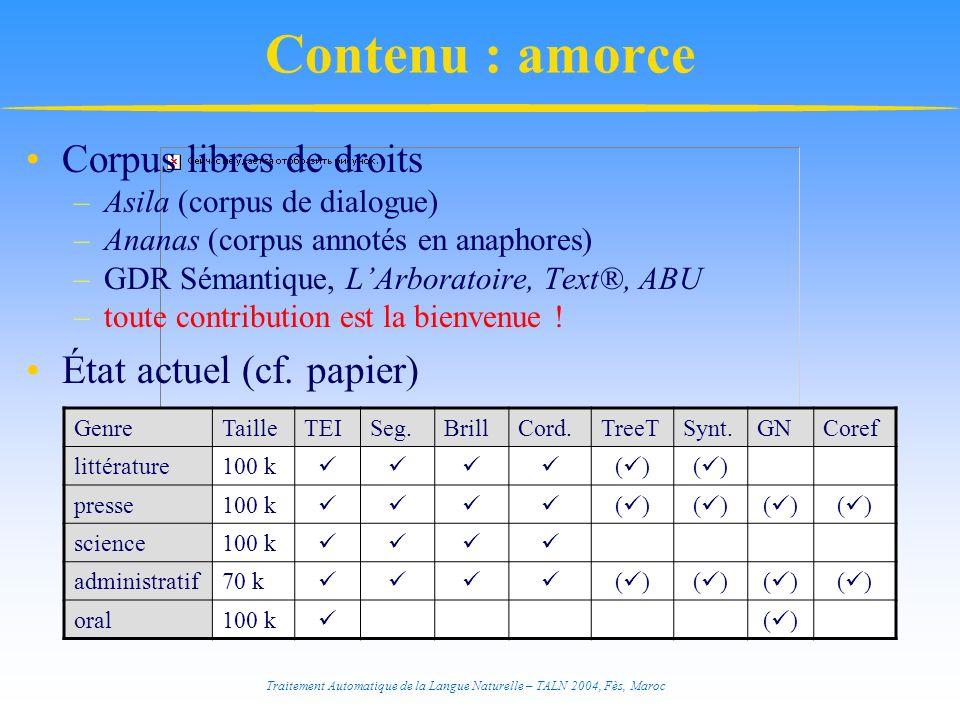 Traitement Automatique de la Langue Naturelle – TALN 2004, Fès, Maroc Contenu : amorce Corpus libres de droits –Asila (corpus de dialogue) –Ananas (co