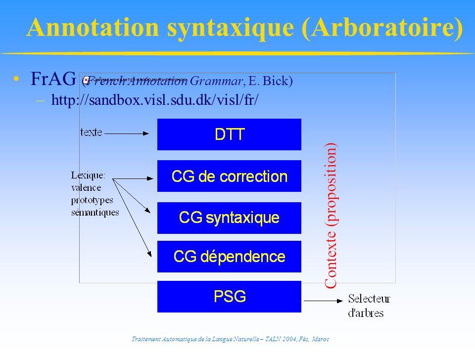 Traitement Automatique de la Langue Naturelle – TALN 2004, Fès, Maroc Annotation syntaxique (Arboratoire) FrAG (French Annotation Grammar, E. Bick) –h