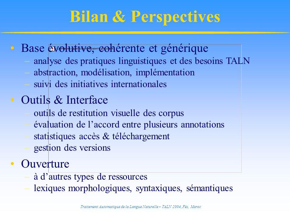Traitement Automatique de la Langue Naturelle – TALN 2004, Fès, Maroc Bilan & Perspectives Base évolutive, cohérente et générique –analyse des pratiqu