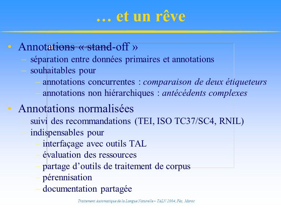 Traitement Automatique de la Langue Naturelle – TALN 2004, Fès, Maroc … et un rêve Annotations « stand-off » –séparation entre données primaires et an