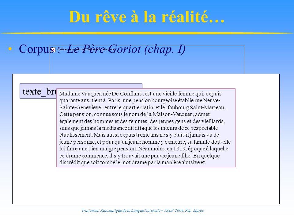 Traitement Automatique de la Langue Naturelle – TALN 2004, Fès, Maroc Corpus : Le Père Goriot (chap. I) texte_brut Madame Vauquer, née De Conflans, es