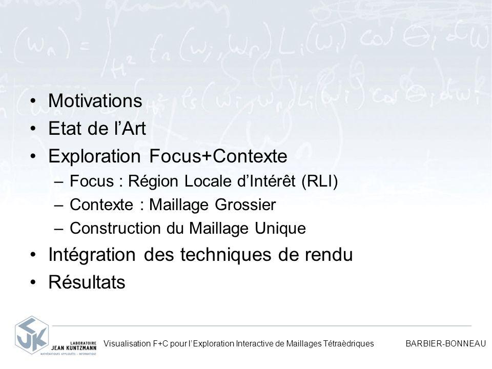 Visualisation F+C pour lExploration Interactive de Maillages Tétraèdriques BARBIER-BONNEAU Motivations Etat de lArt Exploration Focus+Contexte –Focus