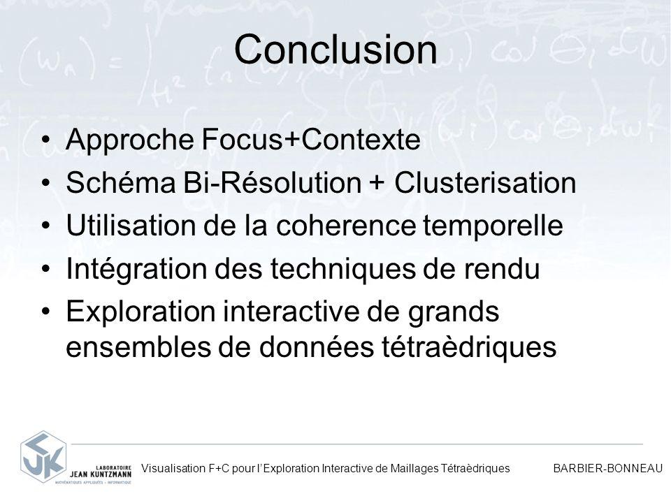 Conclusion Approche Focus+Contexte Schéma Bi-Résolution + Clusterisation Utilisation de la coherence temporelle Intégration des techniques de rendu Ex