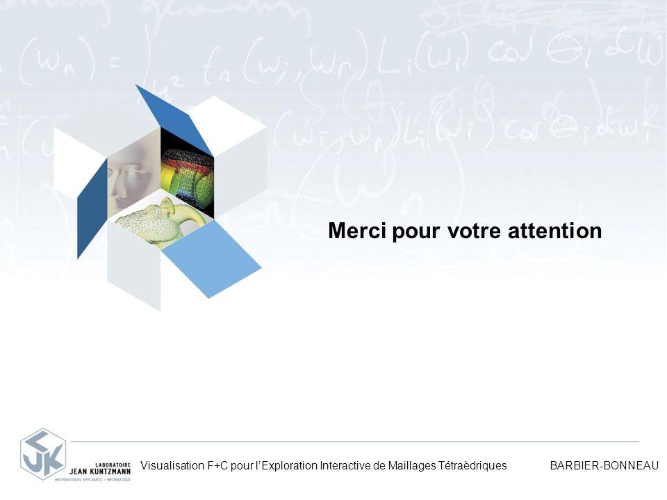 Merci pour votre attention Visualisation F+C pour lExploration Interactive de Maillages Tétraèdriques BARBIER-BONNEAU