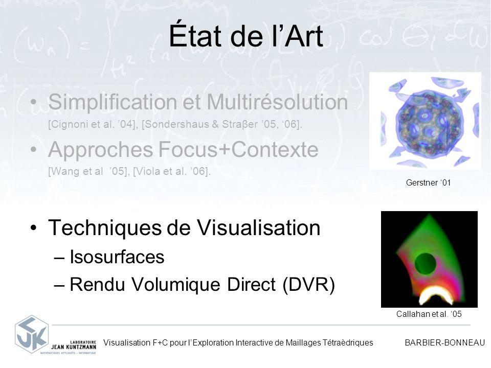 Visualisation F+C pour lExploration Interactive de Maillages Tétraèdriques BARBIER-BONNEAU État de lArt Simplification et Multirésolution [Cignoni et