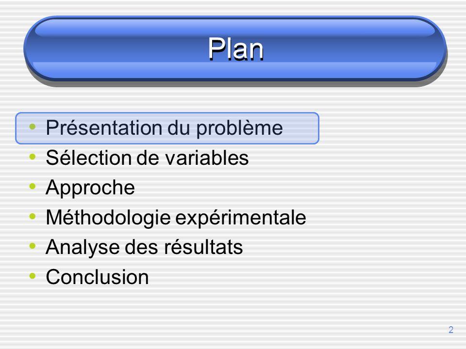 2 Plan Présentation du problème Sélection de variables Approche Méthodologie expérimentale Analyse des résultats Conclusion