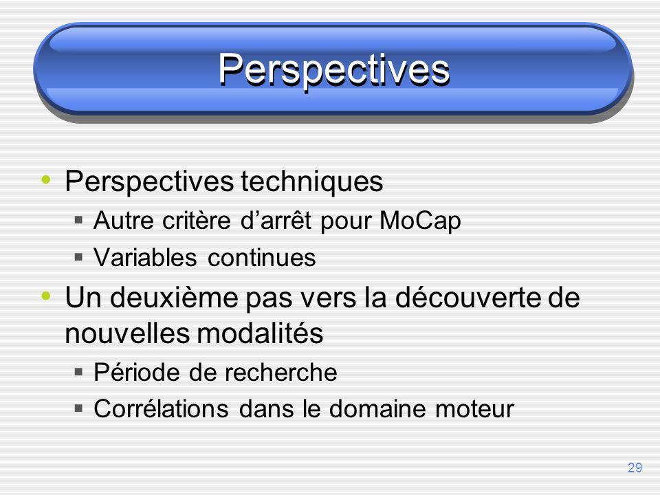 29 Perspectives Perspectives techniques Autre critère darrêt pour MoCap Variables continues Un deuxième pas vers la découverte de nouvelles modalités Période de recherche Corrélations dans le domaine moteur
