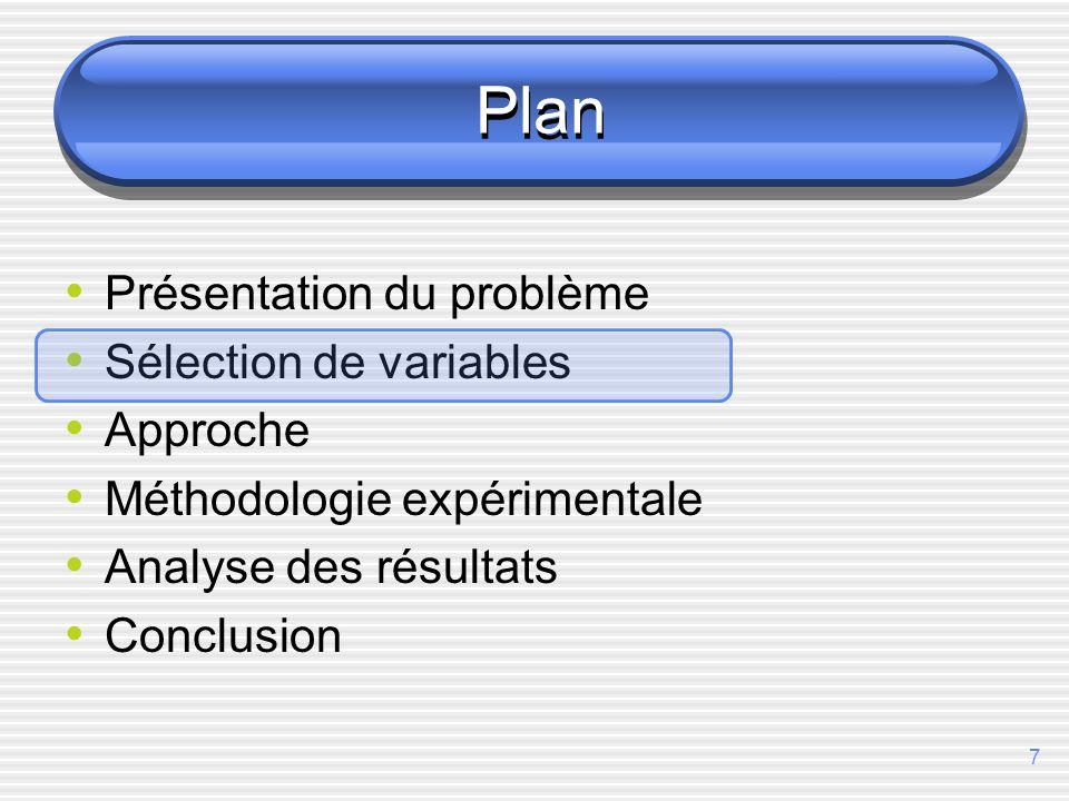 7 Plan Présentation du problème Sélection de variables Approche Méthodologie expérimentale Analyse des résultats Conclusion