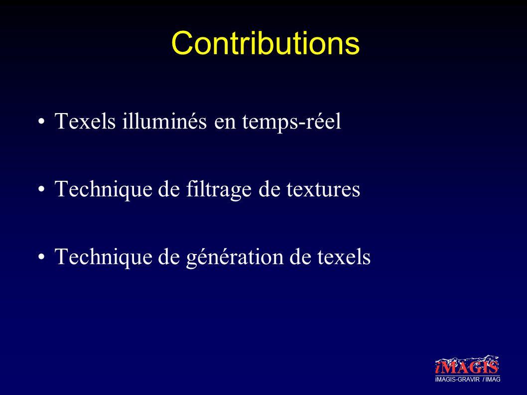 iMAGIS-GRAVIR / IMAG Contributions Texels illuminés en temps-réel Technique de filtrage de textures Technique de génération de texels