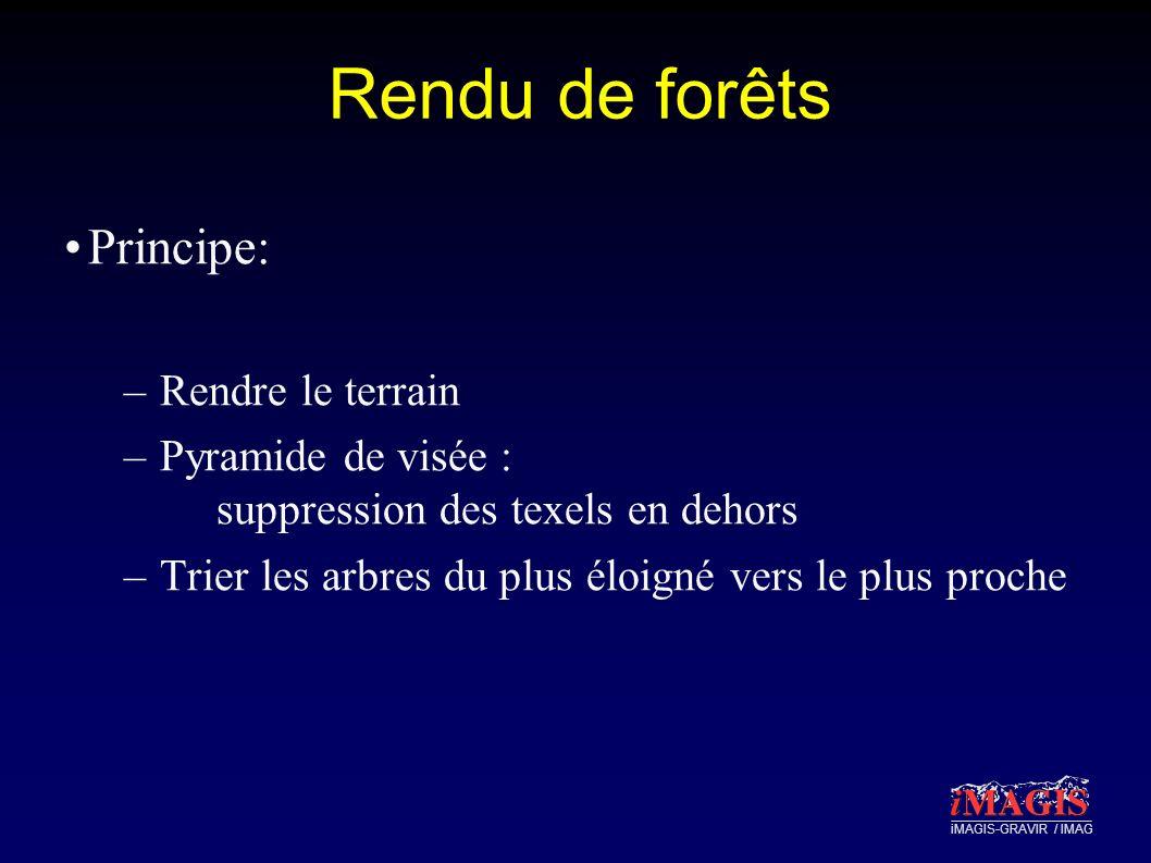 iMAGIS-GRAVIR / IMAG Rendu de forêts Principe: –Rendre le terrain –Pyramide de visée : suppression des texels en dehors –Trier les arbres du plus éloigné vers le plus proche