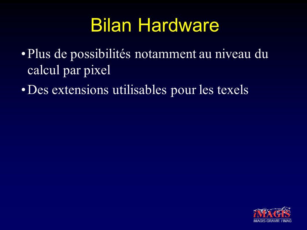 Bilan Hardware Plus de possibilités notamment au niveau du calcul par pixel Des extensions utilisables pour les texels