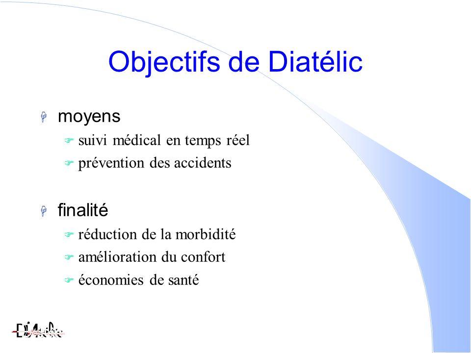 Objectifs de Diatélic moyens suivi médical en temps réel prévention des accidents finalité réduction de la morbidité amélioration du confort économies de santé
