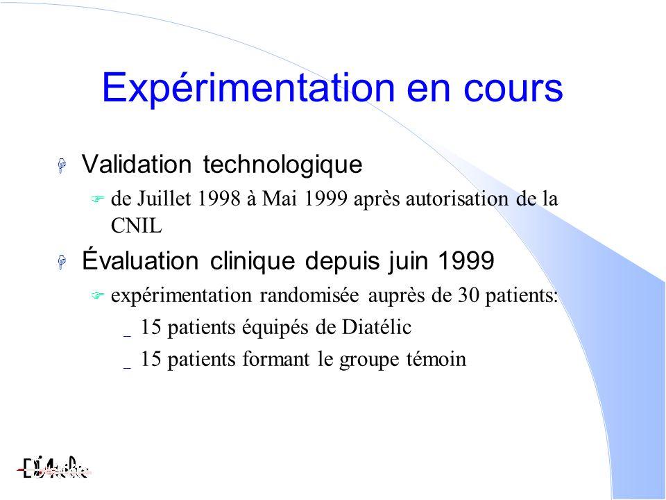 Expérimentation en cours Validation technologique de Juillet 1998 à Mai 1999 après autorisation de la CNIL Évaluation clinique depuis juin 1999 expérimentation randomisée auprès de 30 patients: _ 15 patients équipés de Diatélic _ 15 patients formant le groupe témoin