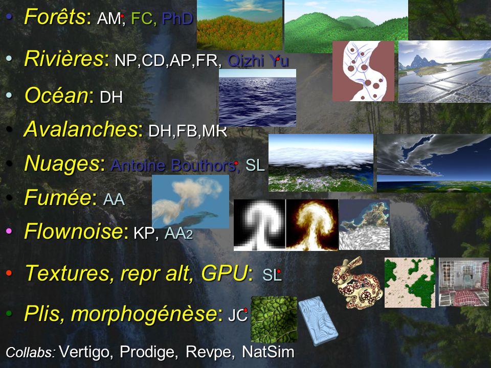 Forêts: AM, FC, PhDForêts: AM, FC, PhD Rivières: NP,CD,AP,FR, Qizhi YuRivières: NP,CD,AP,FR, Qizhi Yu Océan: DHOcéan: DH Avalanches: DH,FB,MRAvalanches: DH,FB,MR Nuages: Antoine Bouthors, SLNuages: Antoine Bouthors, SL Fumée: AAFumée: AA Flownoise: KP, AA 2Flownoise: KP, AA 2 Textures, repr alt, GPU: SLTextures, repr alt, GPU: SL Plis, morphogénèse: JCPlis, morphogénèse: JC Collabs: Vertigo, Prodige, Revpe, NatSim