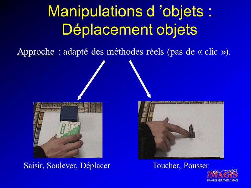 iMAGIS-GRAVIR / IMAG Manipulations d objets : Déplacement objets Approche : adapté des méthodes réels (pas de « clic »). Saisir, Soulever, DéplacerTou