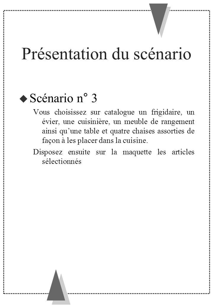 Présentation du scénario Scénario n° 3 Vous choisissez sur catalogue un frigidaire, un évier, une cuisinière, un meuble de rangement ainsi quune table