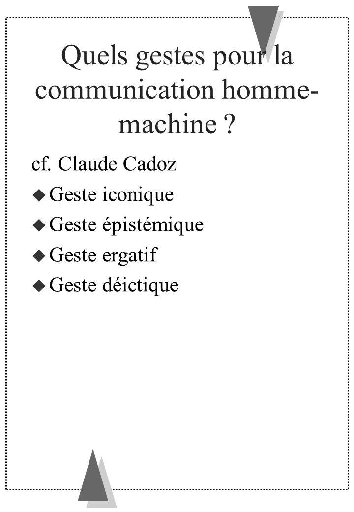 Quels gestes pour la communication homme- machine ? cf. Claude Cadoz Geste iconique Geste épistémique Geste ergatif Geste déictique