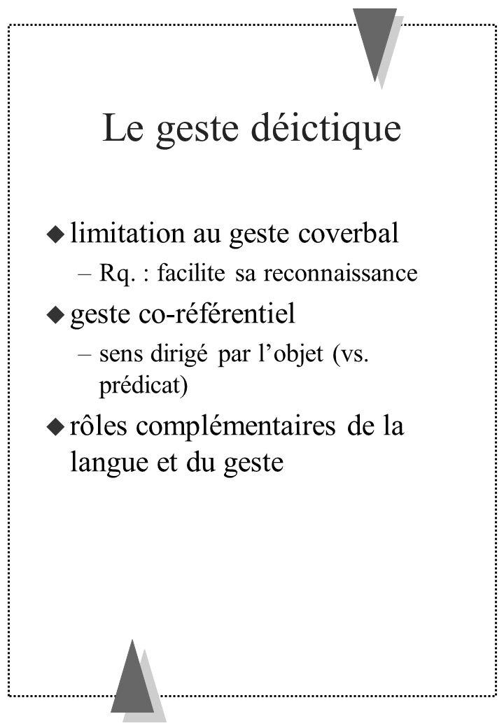 Le geste déictique limitation au geste coverbal –Rq. : facilite sa reconnaissance geste co-référentiel –sens dirigé par lobjet (vs. prédicat) rôles co