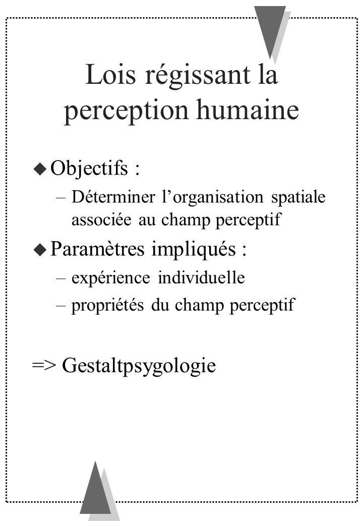 Lois régissant la perception humaine Objectifs : –Déterminer lorganisation spatiale associée au champ perceptif Paramètres impliqués : –expérience ind