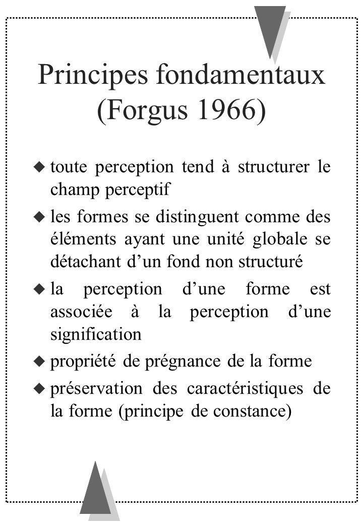Principes fondamentaux (Forgus 1966) toute perception tend à structurer le champ perceptif les formes se distinguent comme des éléments ayant une unit