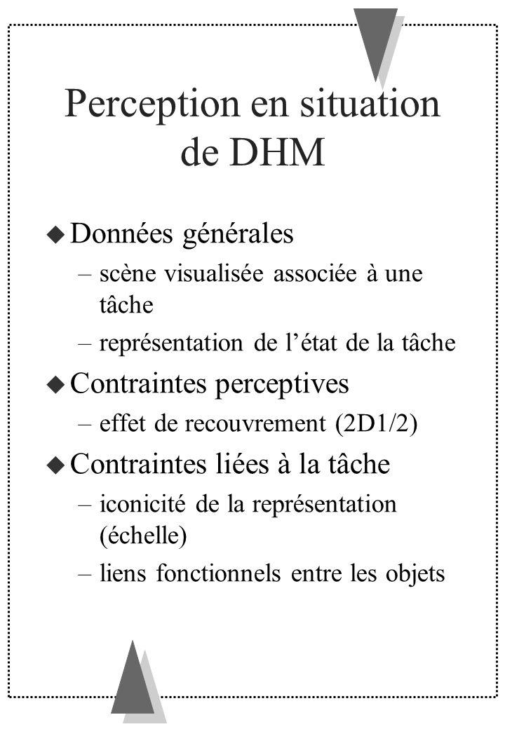 Perception en situation de DHM Données générales –scène visualisée associée à une tâche –représentation de létat de la tâche Contraintes perceptives –