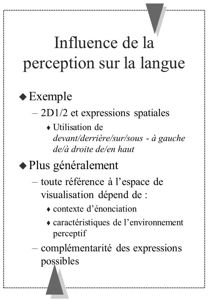 Influence de la perception sur la langue Exemple –2D1/2 et expressions spatiales Utilisation de devant/derrière/sur/sous - à gauche de/à droite de/en