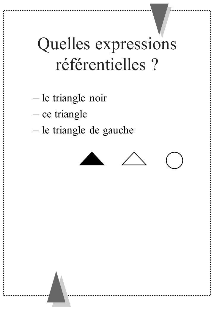 Quelles expressions référentielles ? –le triangle noir –ce triangle –le triangle de gauche