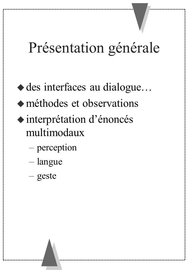 Influence de la perception sur le geste Principes généraux Le geste focalise la perception sur un sous-espace de la scène visualisée (aux limites vagues) Plus lobjet est perçu comme saillant par rapport à la scène, plus le geste associé pour le désigner est simple typ.