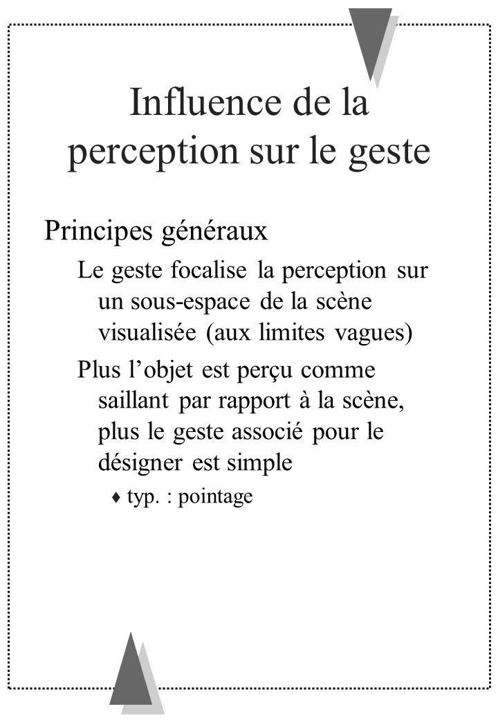 Influence de la perception sur le geste Principes généraux Le geste focalise la perception sur un sous-espace de la scène visualisée (aux limites vagu