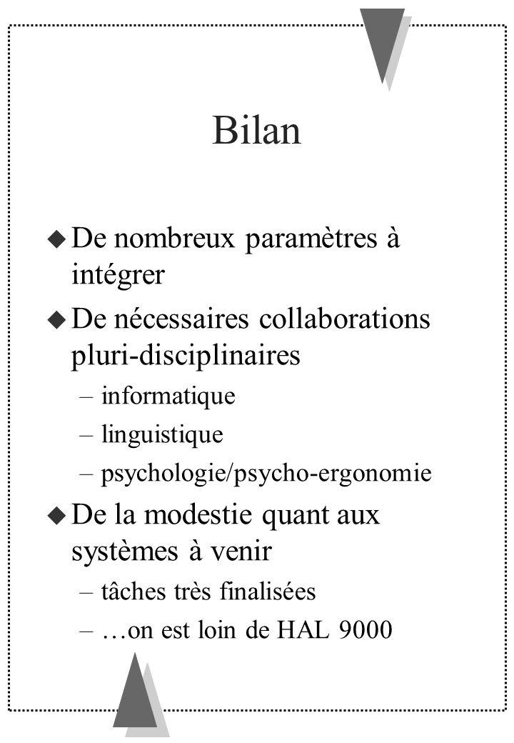 Bilan De nombreux paramètres à intégrer De nécessaires collaborations pluri-disciplinaires –informatique –linguistique –psychologie/psycho-ergonomie D