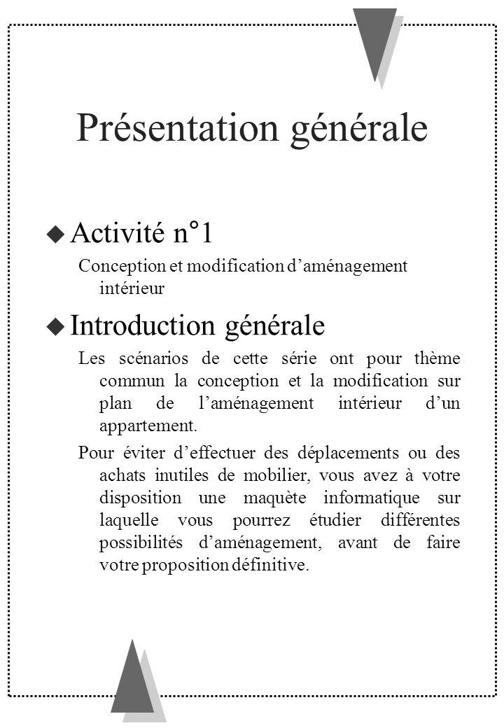 Présentation générale Activité n°1 Conception et modification daménagement intérieur Introduction générale Les scénarios de cette série ont pour thème