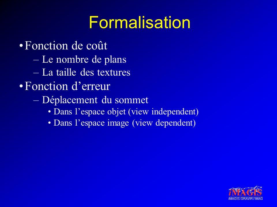 iMAGIS-GRAVIR / IMAG Formalisation Fonction de coût –Le nombre de plans –La taille des textures Fonction derreur –Déplacement du sommet Dans lespace o