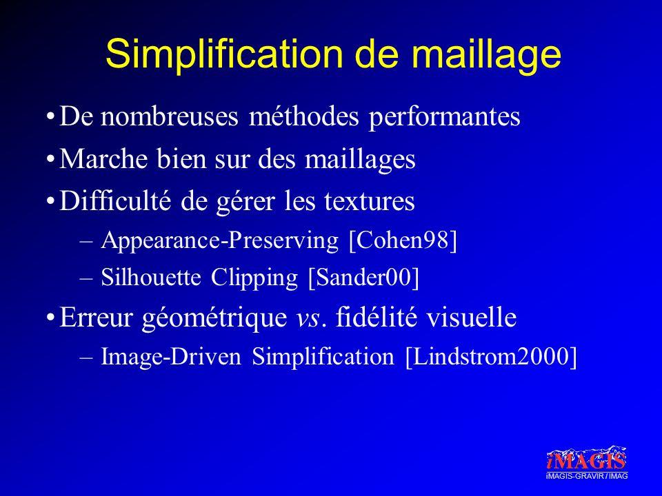 iMAGIS-GRAVIR / IMAG Simplification de maillage De nombreuses méthodes performantes Marche bien sur des maillages Difficulté de gérer les textures –Ap