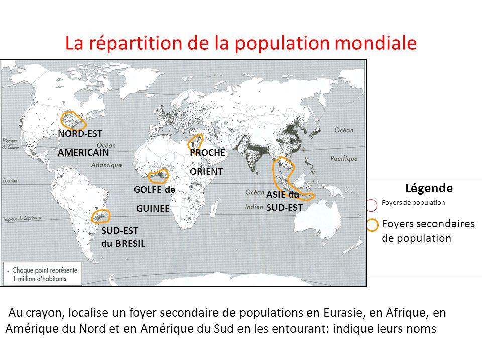 La répartition de la population mondiale Légende Foyers de population Foyers secondaires de population Au crayon, localise un foyer secondaire de popu
