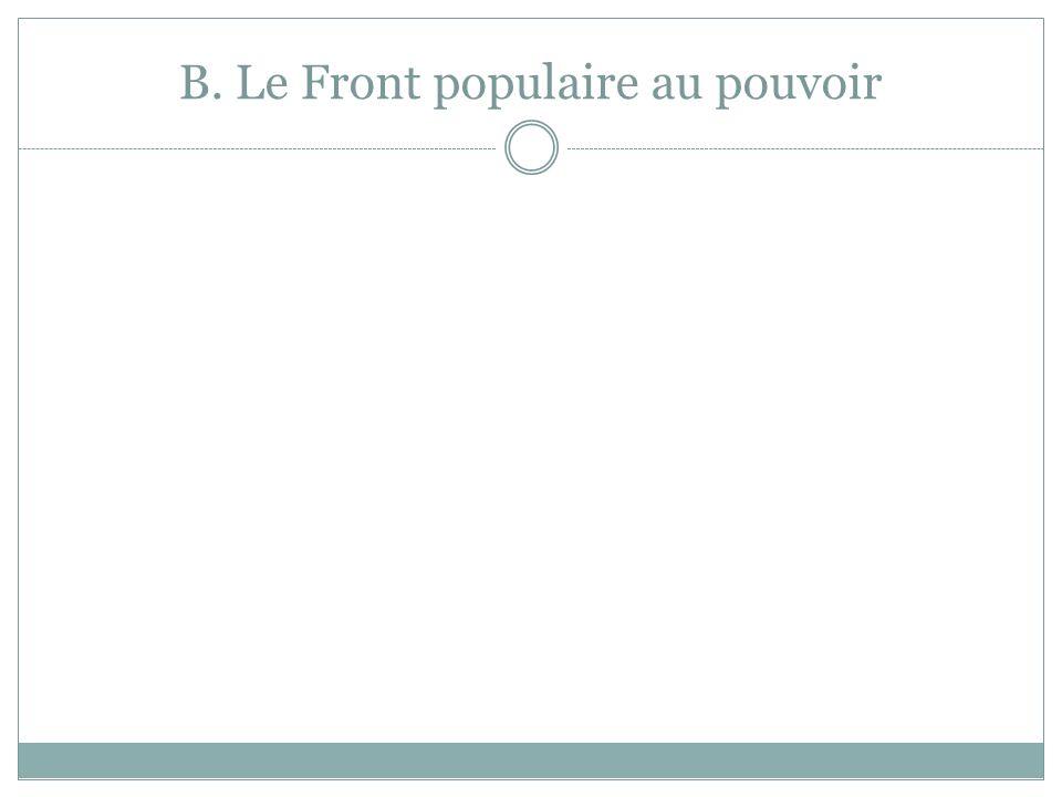 B. Le Front populaire au pouvoir