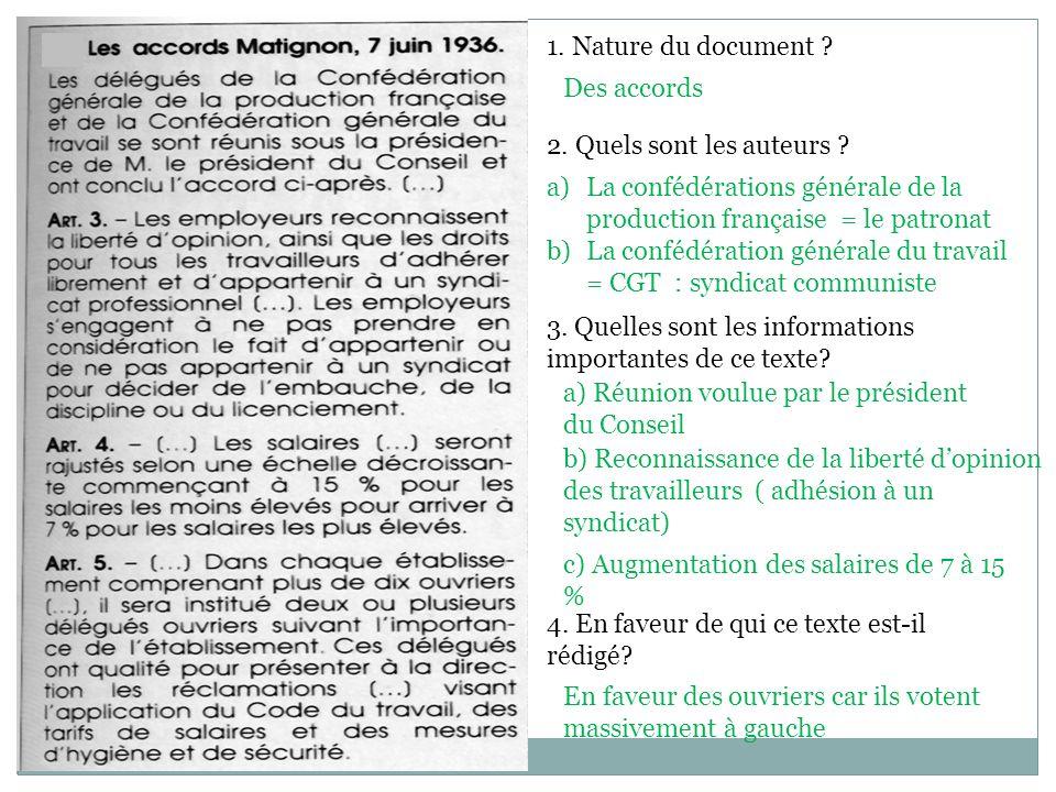 1. Nature du document ? 2. Quels sont les auteurs ? 3. Quelles sont les informations importantes de ce texte? 4. En faveur de qui ce texte est-il rédi