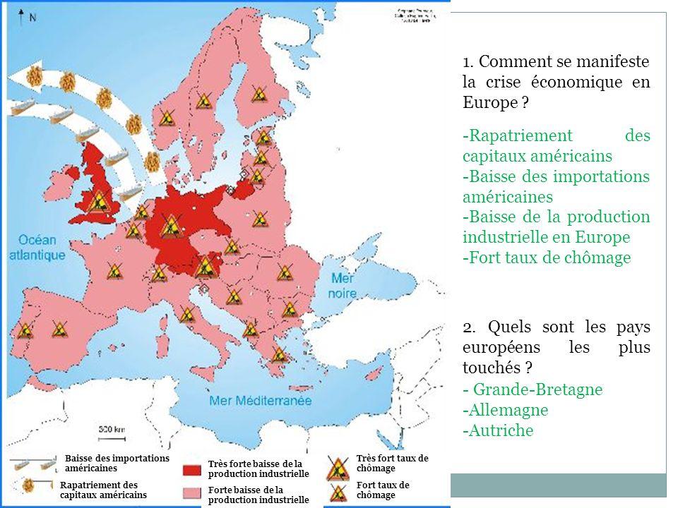1. Comment se manifeste la crise économique en Europe ? 2. Quels sont les pays européens les plus touchés ? Baisse des importations américaines Rapatr