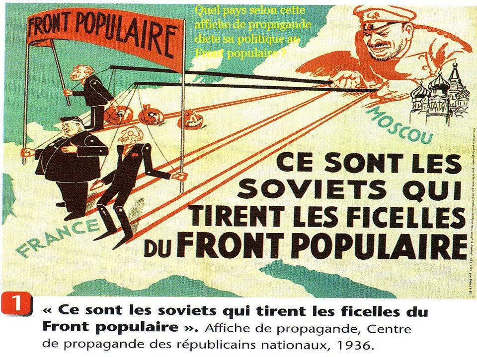 Quel pays selon cette affiche de propagande dicte sa politique au Front populaire ?