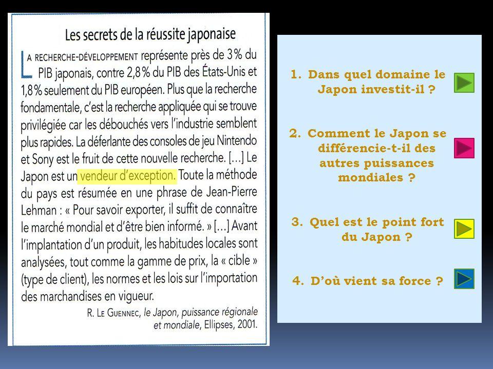 1.Dans quel domaine le Japon investit-il ? 2.Comment le Japon se différencie-t-il des autres puissances mondiales ? 3.Quel est le point fort du Japon