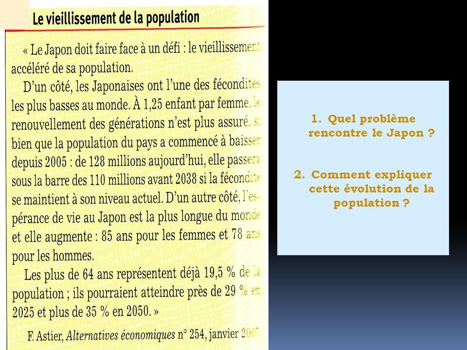 1.Quel problème rencontre le Japon ? 2.Comment expliquer cette évolution de la population ?