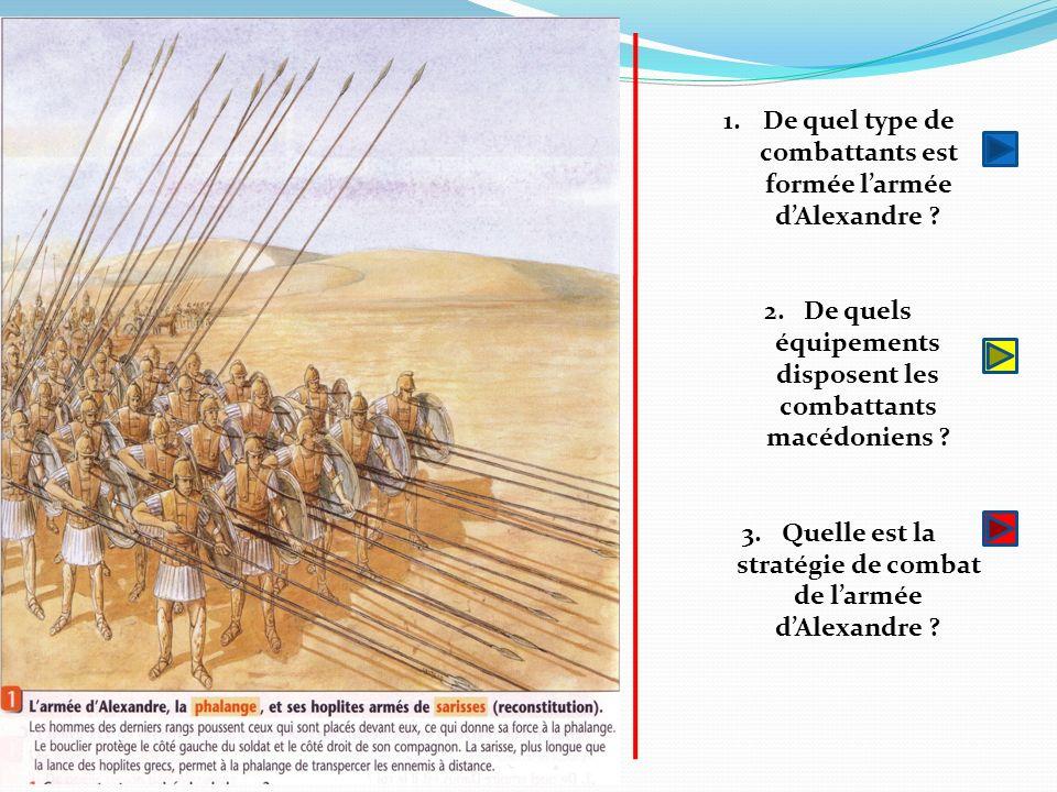 1.De quel type de combattants est formée larmée dAlexandre ? 2.De quels équipements disposent les combattants macédoniens ? 3.Quelle est la stratégie
