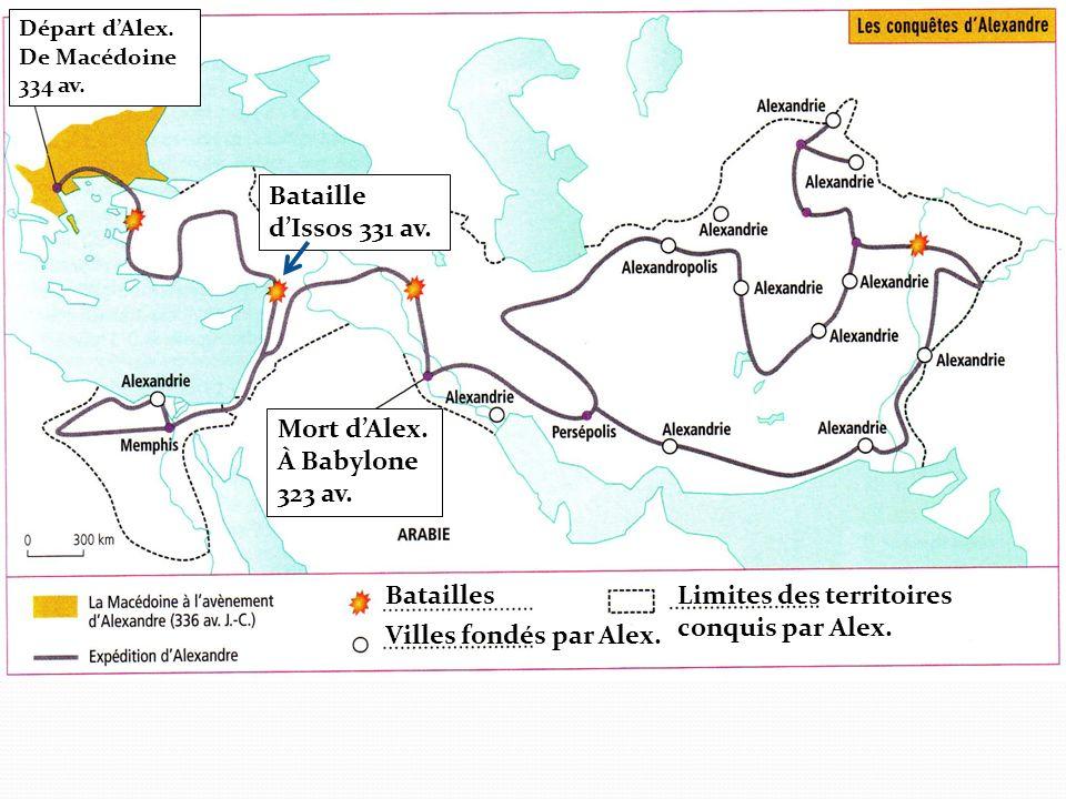 Départ dAlex. De Macédoine 334 av. Bataille dIssos 331 av. Mort dAlex. À Babylone 323 av. Batailles Villes fondés par Alex. Limites des territoires co