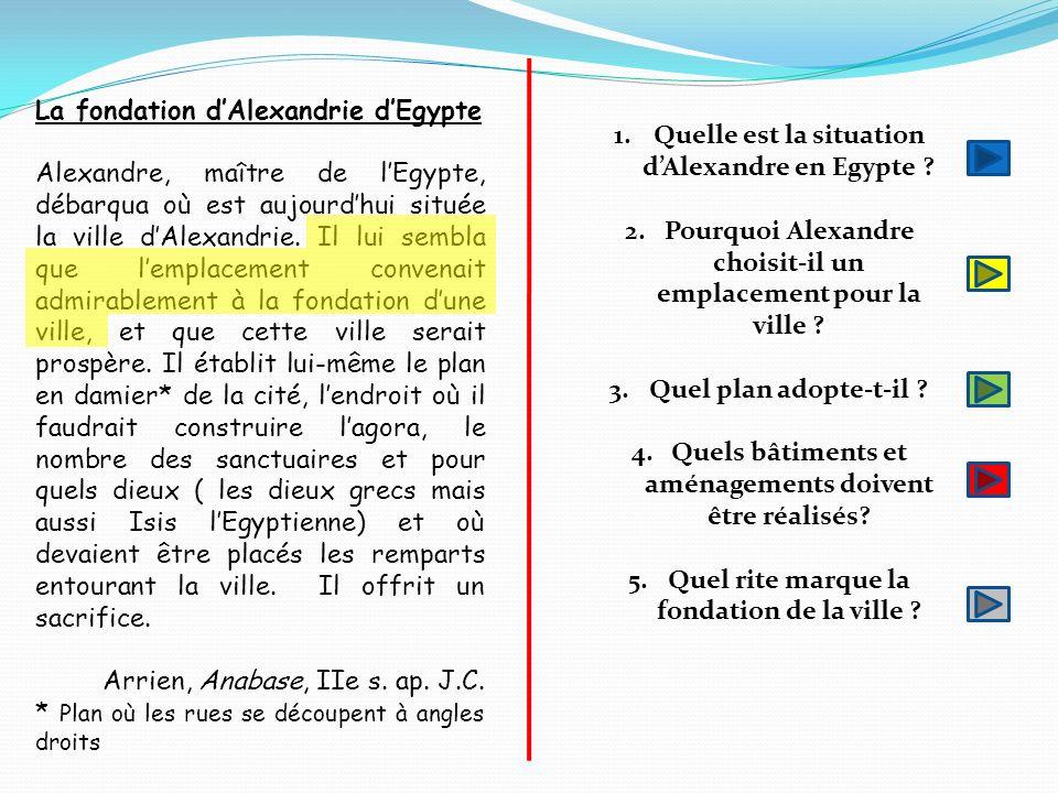 La fondation dAlexandrie dEgypte Alexandre, maître de lEgypte, débarqua où est aujourdhui située la ville dAlexandrie. Il lui sembla que lemplacement